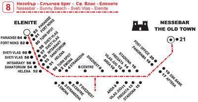 Маршрут движения автобуса №8 Несебр - Свети Влас - Елинете